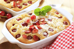 Cherry Sponge Cake Royalty Free Stock Photos