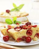 Cherry sponge cake Stock Photos