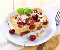 Cherry sponge cake Stock Photo
