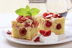 Cherry sponge cake Stock Image