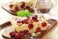 Cherry sponge cake royalty free stock photography
