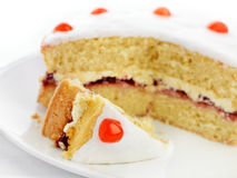 Cherry sponge cake Royalty Free Stock Image