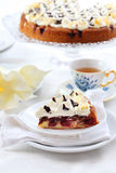 Cherry sponge cake with cream Stock Photography