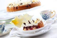 Cherry sponge cake with cream Royalty Free Stock Images