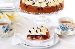 Cherry sponge cake with cream Royalty Free Stock Photo