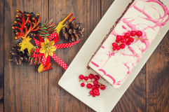Cherry sponge cake with cream and red currant. Wooden background. Top view. Close-up Royalty Free Stock Images