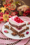 Cherry sponge cake with cream and red currant. Wooden background. Top view. Close-up Royalty Free Stock Photography