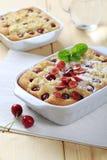 Cherry sponge cake Stock Images