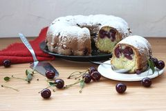 Cherry sponge cake Royalty Free Stock Photo