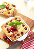Cherry sponge cakes Stock Photography