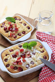 Cherry sponge cakes Royalty Free Stock Photos