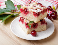 Cherry sponge slice Stock Images