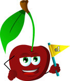 Cherry sports fan with flag Stock Images