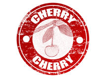 Cherry stamp. Red grunge rubber stamp with cherry shape and the word cherry written inside the stamp royalty free illustration