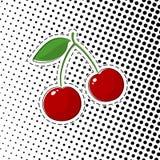 Cherry Sticker rouge sur le bruit Art Background illustration libre de droits