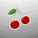 Cherry Sticker rouge sur le bruit Art Background illustration de vecteur