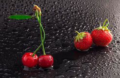 Cherry and Strawberries Royalty Free Stock Photo