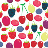 Cherry Strawberry Raspberry Blackberry Blueberry Cranberry Cowberry Goji Grape  seamless pattern Fresh juicy berries on white back. Ground. Vector illustration Royalty Free Stock Images