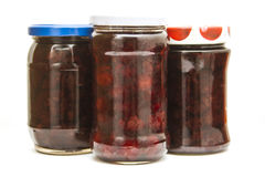 Cherry and strawbery jams  Royalty Free Stock Photography