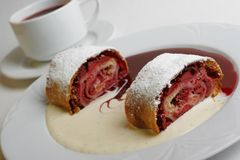 Cherry  strudel Stock Photo