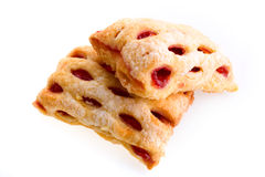 Cherry strudel bars. On white background Stock Image