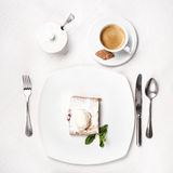 Cherry strudel with ice cream Royalty Free Stock Image