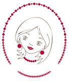 Cherry_style. Girl with cherry beads and earrings royalty free illustration