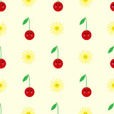 Cherry, sun cartoon seamless childlike  pattern. Design Stock Images