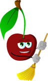Cherry sweeping with broom Stock Images