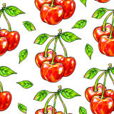 Cherry sweet on a white background. Seamless pattern for design. Animation illustrations. Handwork Stock Photo