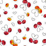 Cherry sweet on a white background. Seamless pattern for design. Animation illustrations. Handwork Stock Photography