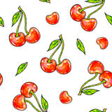 Cherry sweet on a white background. Seamless pattern for design. Animation illustrations. Handwork Stock Photos