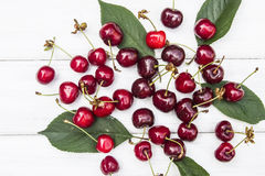 Cherry. Sweet cherry on the white wood Stock Photography