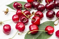 Cherry. Sweet cherry on the white wood Stock Photo