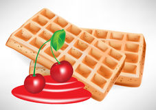 Cherry syrup and belgian waffle Stock Image