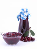 Cherry syrup and jam stock image