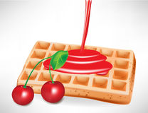 Cherry syrup over belgian waffle Stock Images