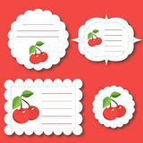 Cherry Tags. Red seamless background with cherries Stock Illustration