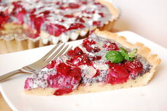 Cherry tart. With a poppy cream Royalty Free Stock Photography