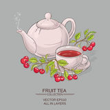 Cherry tea illustration Stock Photos