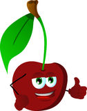Cherry with thumb up Stock Photo