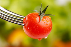 Cherry tomato. On a fork Royalty Free Stock Photography