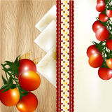 Banner design with cherry tomato on a  wooden texture Stock Photos