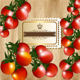 Banner design with cherry tomato and wooden texture Royalty Free Stock Photo