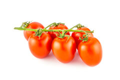 Cherry tomato bunch closeup isolated on white background Stock Images