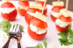 Cherry tomato with cheese Royalty Free Stock Photography