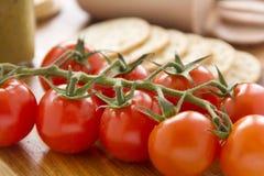 Cherry Tomato And Crackers Stock Photo