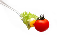 Cherry tomato on fork Royalty Free Stock Photo