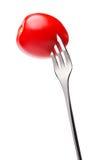 Cherry tomato on fork Stock Photos