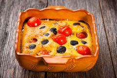 Cherry Tomato & Olive Clafoutis Stock Photography